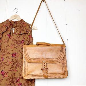 Hand tooled distressed boho satchel bag